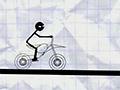 Палочный мальчик на велосипеде