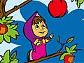 Маша и Медведь собирают вкусные яблоки